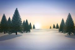 Snowy landscape with fir trees. Digitally generated Snowy landscape with fir trees Royalty Free Stock Photos