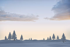 Snowy landscape with fir trees Stock Image