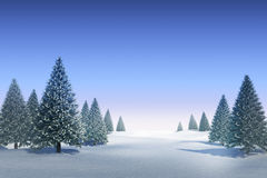 Snowy landscape with fir trees. Digitally generated Snowy landscape with fir trees Stock Photos