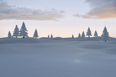 Snowy landscape with fir trees Royalty Free Stock Photo