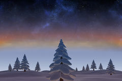 Snowy landscape with fir trees. Digitally generated Snowy landscape with fir trees Stock Image