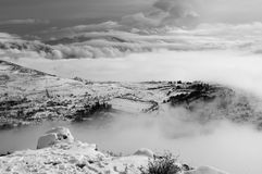 Snowy landscape with fog Royalty Free Stock Images