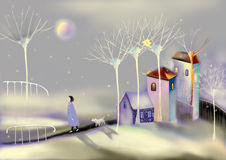 Snowy landscape with houses and trees. Landscape with houses and trees, woman walking her dog,  raster illustration over a gray background Royalty Free Stock Image