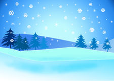 Snowy landscape illustration. Royalty Free Stock Photo