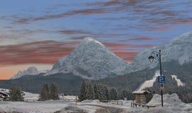 Snowy Landscape of Italian Alps on Winter Royalty Free Stock Photos