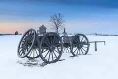 Snowy Landscape Manassas National Civil War Battlefield Stock Photo