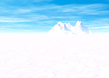 Snowy Landscape with Mountain in Far Distance Royalty Free Stock Photos