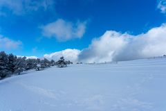 Snowy landscape mountain of Madrid Royalty Free Stock Image
