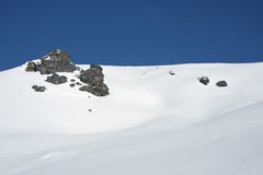 Snowy landscape in the mountains. In the Alps Royalty Free Stock Photos