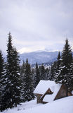 Snowy landscape in the mountains. Royalty Free Stock Photography