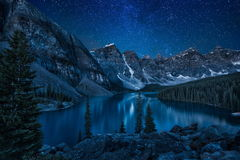 Snowy landscape in the mountains at night Stock Image