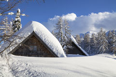 Snowy landscape in the mountains. Of Slovenia Stock Photo