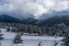 Snowy landscape moutains of Madrid stock image