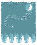 Snowy landscape with nice moon and forest.Vector c Royalty Free Stock Image