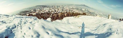 Snowy landscape with Nitra city, Slovakia, old filter. Snowy landscape with Nitra city, Slovak republic. Panoramic photo. Beautiful seasonal scene. Old photo Royalty Free Stock Photos