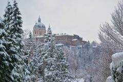 Superga basilica seen in winter, during a snowfall Royalty Free Stock Photography