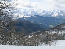 Snowy landscape of the Picos de Europa Royalty Free Stock Photos
