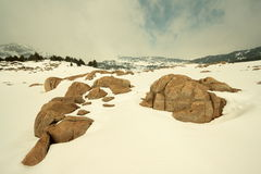 Snowy landscape in Pyrenees Royalty Free Stock Photos