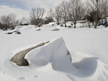 Snowy Landscape with a Rock Stock Photos