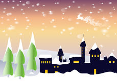 Snowy landscape with Santa Claus Stock Image