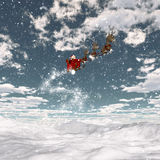 Snowy landscape with santa and his reindeers Royalty Free Stock Photos