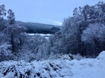 Snowy landscape in Scottish Highlands. Snowy winter scene in Scottish Highlands royalty free stock images