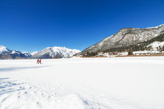 Snowy landscape with ski trails Royalty Free Stock Image