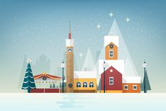 Snowy landscape with small mountain town. City street with beautiful antique towers and houses decorated for New Year or. Christmas celebration. Colorful Stock Images