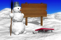 Snowy landscape with snowman and a blank Billboard. Royalty Free Stock Photo