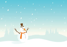 Snowy landscape with snowman Royalty Free Stock Images