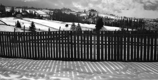 Snowy landscape on sunny day Royalty Free Stock Photography