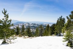 Snowy landscape on the trail to Mount San Jacinto peak, California stock photography