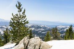Snowy landscape on the trail to Mount San Jacinto peak, California stock photo
