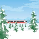 Snowy landscape with train. Winter forest and sky. Beautiful natural background with trees covered with snow vector illustration
