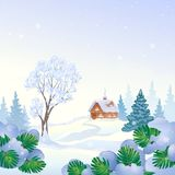 Snowy landscape trees and house. Vector drawing of a snowy landscape with a small cottage and snow covered trees, square background royalty free illustration