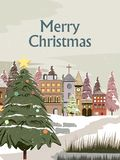 Snowy landscape wintertime background for Merry Christmas Holiday royalty free illustration