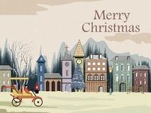 Snowy landscape wintertime background for Merry Christmas Holiday stock illustration