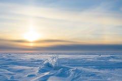 Snowy-Landschaft, -eis, -wind und -blizzard Stockbilder
