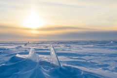 Snowy-Landschaft, -eis, -wind und -blizzard Stockfotografie