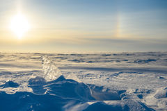 Snowy-Landschaft, -eis, -wind und -blizzard Stockfoto