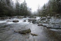 Snowy-Landschaft, kleiner Taube-Fluss Lizenzfreie Stockfotos