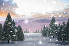 Snowy-Landschaft mit Tannenbäumen Lizenzfreie Stockfotos