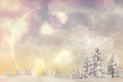 Snowy-Landschaft mit Tannenbäumen Stockbild
