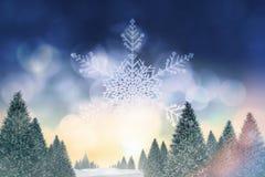 Snowy-Landschaft mit Tannenbäumen Stockfotos