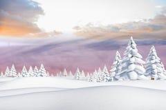 Snowy-Landschaft mit Tannenbäumen Lizenzfreies Stockbild