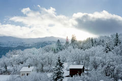 Snowy-Landschaft in Norwegen Lizenzfreies Stockfoto