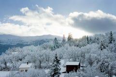 Snowy-Landschaft in Norwegen Lizenzfreies Stockfoto