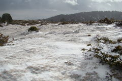 Snowy-Landschaft in Pyrenees Stockfoto