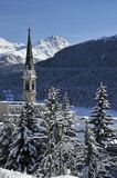 Snowy-Landschaft in Str. Moritz Lizenzfreie Stockbilder