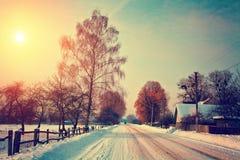 Snowy-landwirtschaftliche Landschaft Lizenzfreie Stockfotos